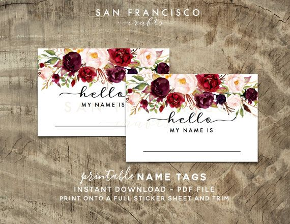 PRINTABLE Hello My Name Is Name Tags - Holly Collection - Instant Download - PDF File  These beautifully designed name tags are perfect for use during your bridal shower or baby shower and coordinates perfectly with our items from our HOLLY collection. The name tags are NOT designed to work with AVERY templates. To make the name tag stickers, simply print the file onto a full adhesive sheet (can be found at your office supply store or craft store). After printing, trim out the name tags, and…