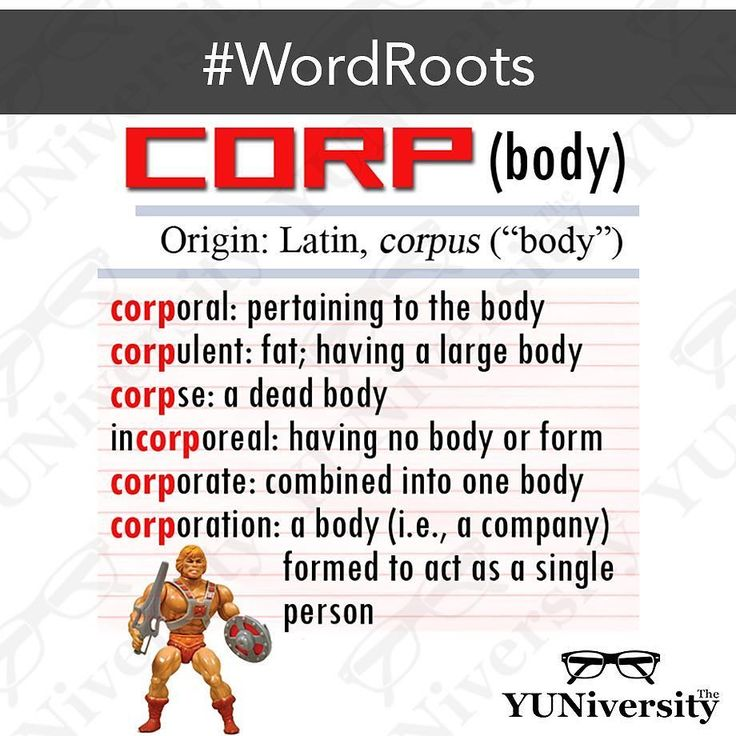 "Here's a word root that incorporates (see what we did there?) many common words: CORP (from Latin ""corpus"" which means ""body""). #vocabulary #wordroot #corp #english #sat #testprep"