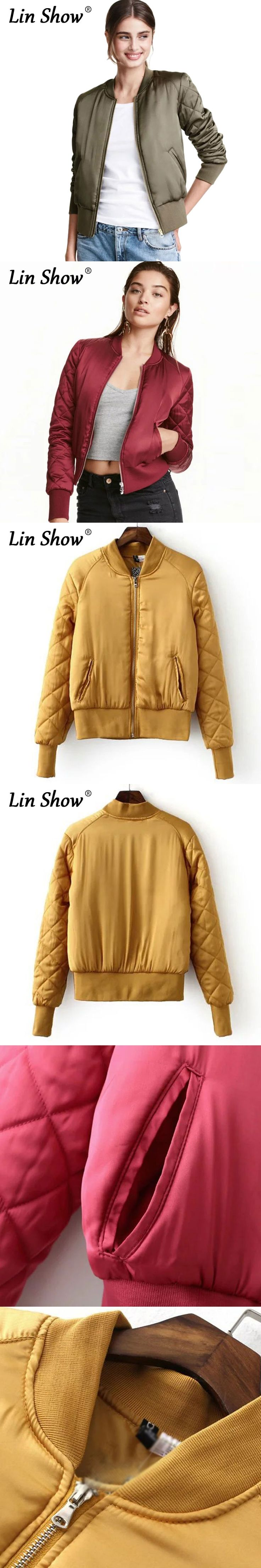 LINSHOW Six Colorful Satin Chiffon Women Baseball Jackets Solid Army Green Zipper Padded Bomber Autumn Casual Ladies Coat Jacket
