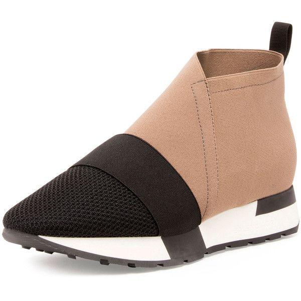 Balenciaga Elastic Mesh High Top Sneaker ($585) ❤ liked on