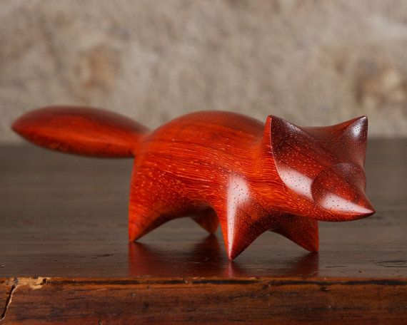 Abstract Wooden Red Fox Carving by Perry Lancaster, Padauk Wood