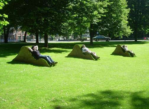 fake grass seats. no mowing needed.