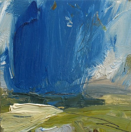 Louise Balaam 'Deep blue light', oil on board, 20 x 20cm