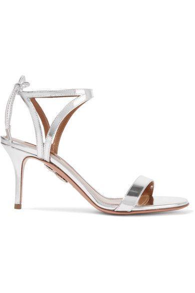 Aquazzura - Uma Mirrored-leather Sandals - Silver - IT
