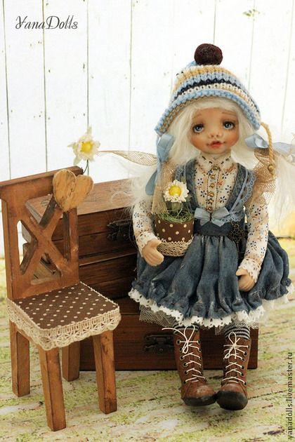 Гномочка Феня - голубой,кукла,гномочка,коллекционная кукла,смешанная техника