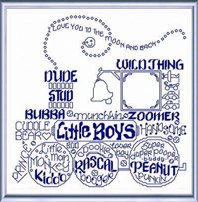 Lets Love Little Boys cross stitch pattern.