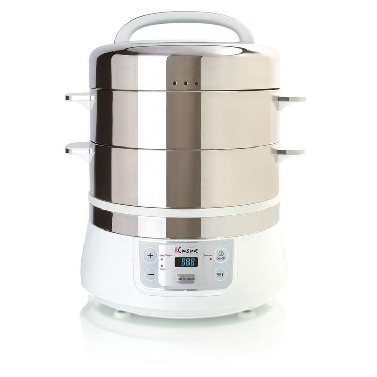 Stainless Steel Electric Food Steamer, Stainless Steel And White