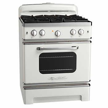 Big Chill Sealed Burner 30 in. Retro-Styled 4 burner Gas Range with Convection Oven - White