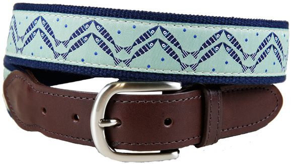 Men's belt with the pattern Herringbone. Designed by Solvejg Makaretz; made by Belted Cow in Maine.