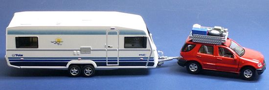 Cararama 1/43 Mercedes ML320 with Polar Caravan 481/483C