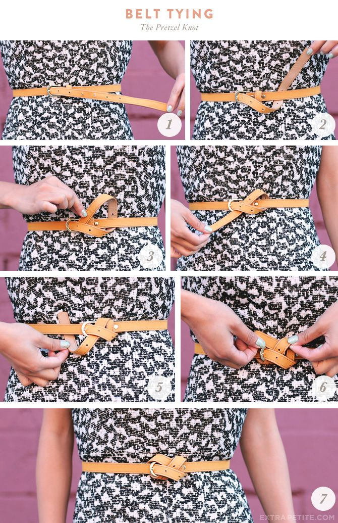 The pretzel knot for a too-long belt from Extra Petite