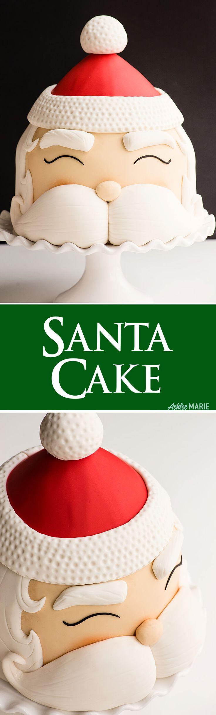 Easy Santa Cake with live video tutorial | Ashlee Marie | Winter | Christmas | Holiday | Santa Cake | Cake Tutorial | #santacake #santacaketutorial #caketutorial #holidaycake #christmascake