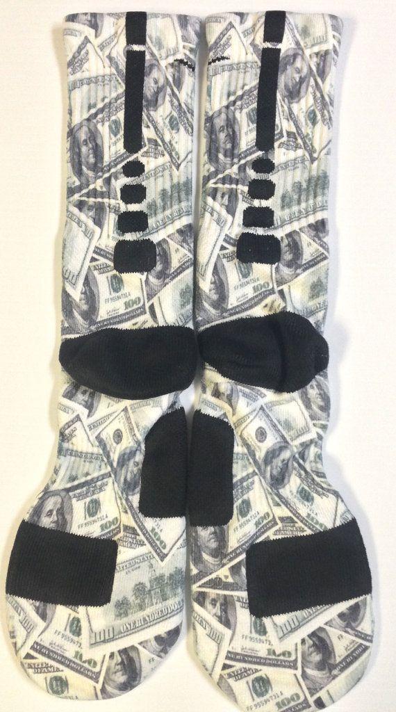Custom 100 Bill nike elite crew socks