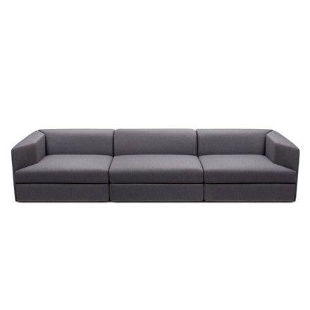 Objekten - Open Sofa, 3-Sitzer, Polyester dunkelgrau Dunkelgrau T:94 H:58 B:282