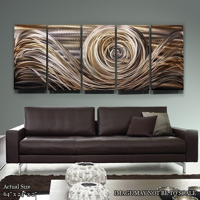Contemporary gold metal wall art modern metal painting unique painted home decor accent spiral of emotions ii by jon allen
