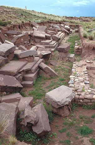 Tiwanaku, Bolivia. Stones were removed from the terraces of the Pumapunku temple to build a Colonial church. (Courtesy Alexei Vranich)