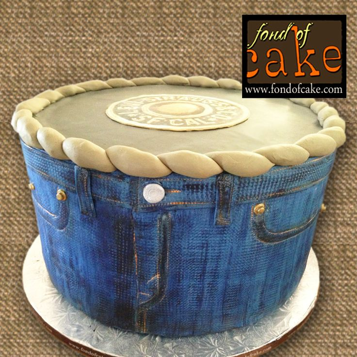 Blue Star Jean Flower Pot Levi Denim Cake Fondofcake