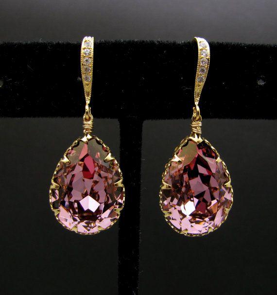 Swarovski antique pink teardrop foiled crystal rhinestone drop with cubic zirconia deco gold vermeil hook   DesignByKara on Etsy.com