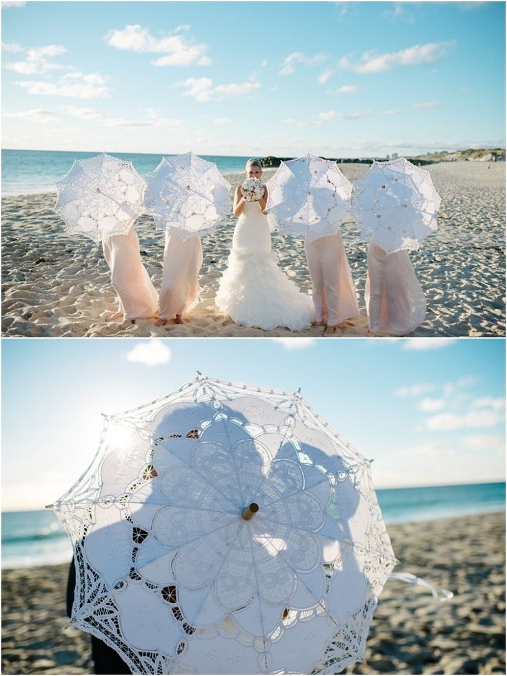 bride, bridesmaids, beach and parasols!  These are pretty pricey, but I like the photo ideas!