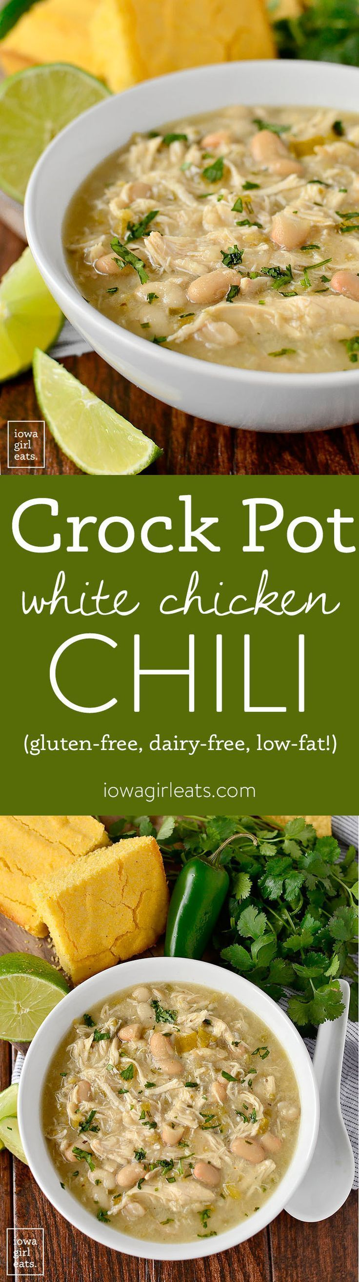 Crock Pot White Chicken Chili is hearty and filling yet low-fat, gluten and dairy-free! | http://iowagirleats.com