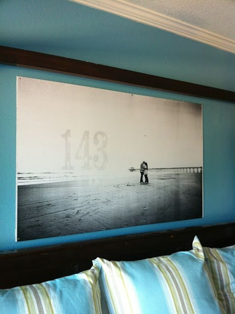 Make giant photo wall art for less than $10.  An engineering print from Kinkos on hardboard from Costco.