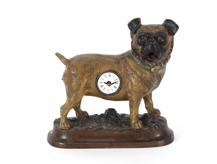 Auktionslos 683 - An automaton clock in the form of a dog with moving tong