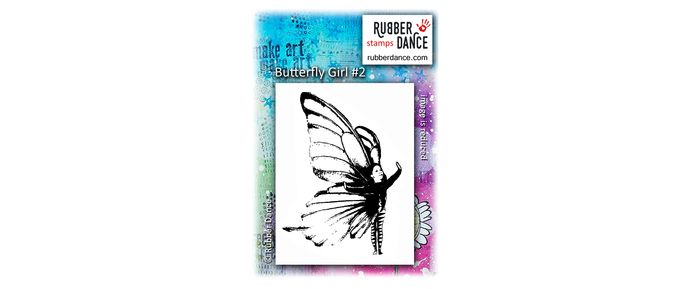 Butterfly Girl #2. UN-mounted, red rubber stamp. Size is about 9 x 6 cm.