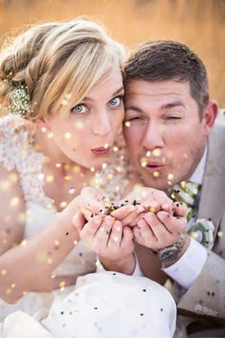 Kiss the sky as love and sparkles fill the air using confetti, glitter or even feathers!