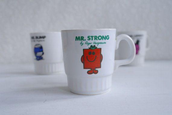 Vintage Mr Men Mug Mr Strong by alltheseprettythings on Etsy