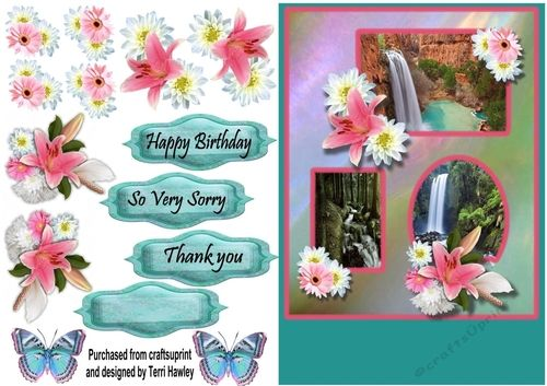 This pretty 3D decoupage card front is really easy to make and looks beautiful when finished, with lovely waterfalls and flowers it can be sent for many reasons. it Has a blank for your own words, then Happy Birthday, So Very Sorry, and Thank you.