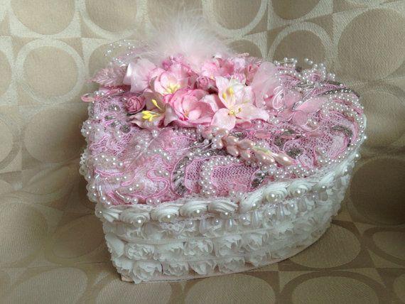 Handmade wedding box shabby chic box by customcardsbysarah on Etsy