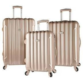 Kensie 3 pc Expandable Hardside Luggage Set - Pale Gold : Target