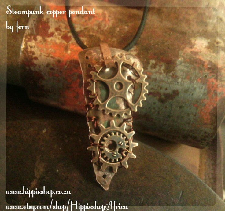 Copper Steampunk Pendant with gears - hand beaten copper work by HippieshopAfrica on Etsy