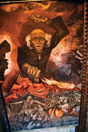 Jose Clemente Orozco was a muralist who was inspired to draw after the Mexican Revolution. With his paintings he overcame poverty and traveled to the U.S. and Europe to share his  artwork. http://www.biography.com/people/jos-clemente-orozco-9429586 The painting above is titled El Mural De Miguel Hidalgo. It was drawn and finalized between the year of 1935-1938. My interpretation is that people admire Miguel for fighting for his country.
