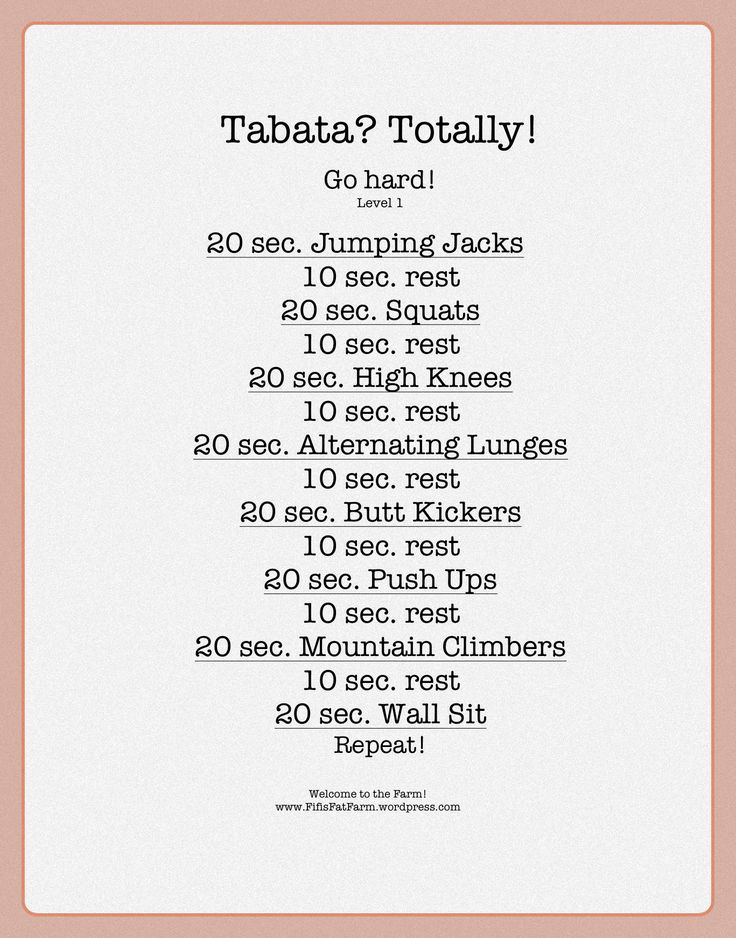 I've done Tabata work outs before and it KILLS but it works @Alice Cartee Cartee Cartee Treats Roxi