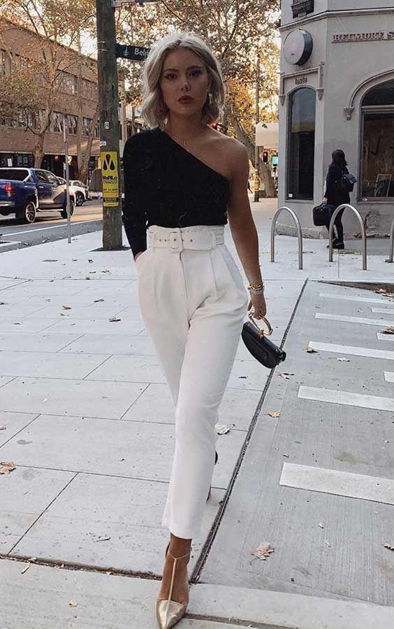 Black one-shoulder longsleeve, white high-waist pants, golden pumps. Date n