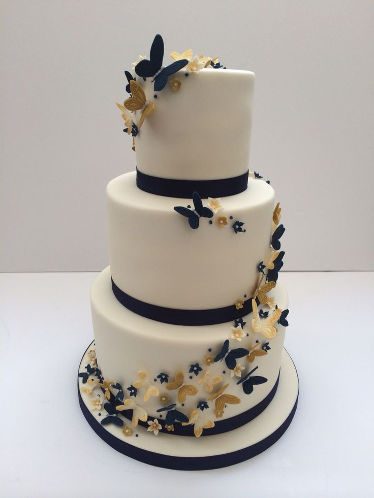 Cute butterfly wedding cake Navy cream and gold  Wedding  Butterfly wedding cake 3 tier