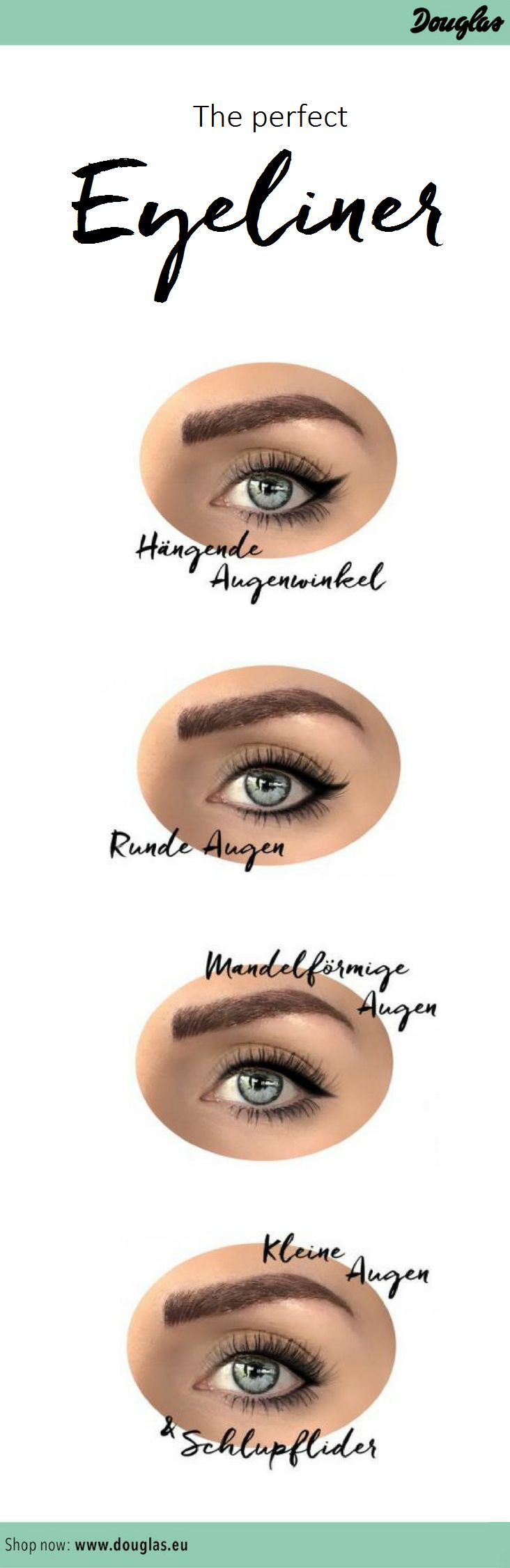 Der perfekte Eyeliner für jede Augenform: egal ob hängendes oder Schlupflid, kleine, runde oder Mandelförmige Augen. Mehr dazu auf unserem Douglas Beautystories Blog