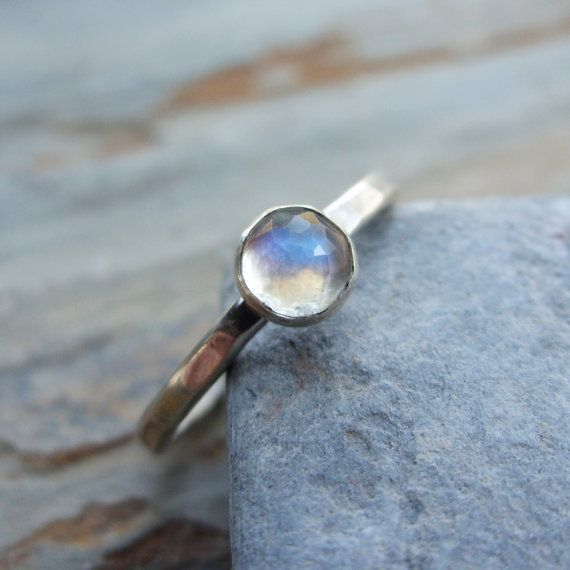 5mm Rose Cut Rainbow Moonstone Stacking Ring in by brightsmith