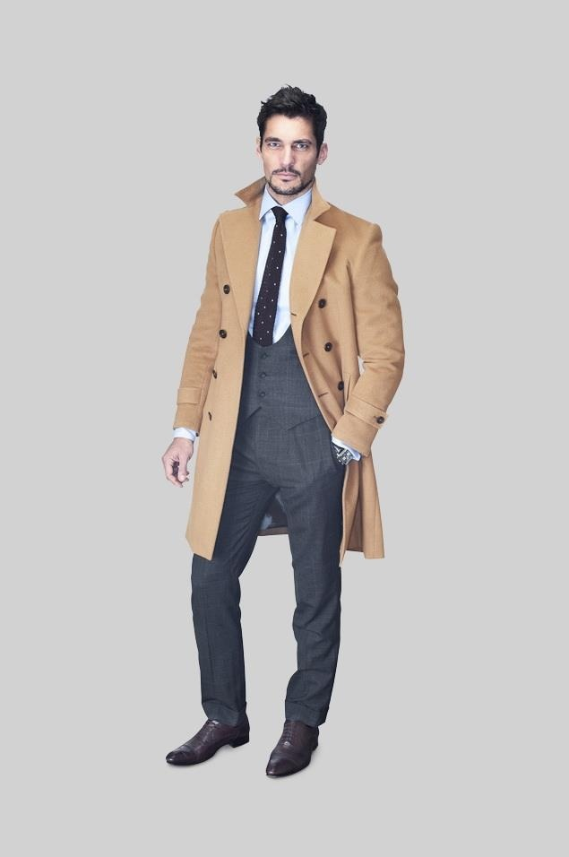Thom Sweeney Mayfair 2012 Ambassador: David Gandy - Wearing: Grey Plaid 3pc; Overcoat: Cashmere DB
