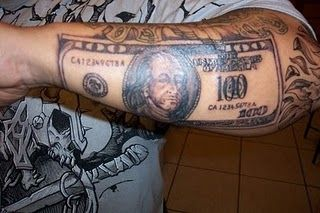 Dollar on arm tattoo cost tattoo prices money tattoo for Forearm tattoo cost