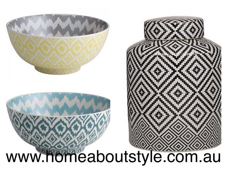 Bold & crisp with a glossy glaze... These striking geometrical patterned bowls & jars are great for lively decoration around the home! $69-$120 (sets of 2) www.homeaboutstyle.com.au decorative accessories @home_about_style #interiordesign #homedecor #homeaccessories #geometric #jars #storage #stylish #luxury #beautifulhomes #black&white #christmaspresents #pickoftheday #homeaboutstyle #homedecorators #homedecoratingideas
