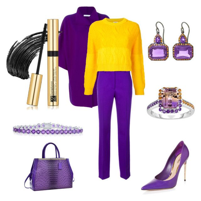 """""""Purple & Yellow Look for Fall"""" by anca2 on Polyvore featuring Harris Wharf London, Calvin Klein 205W39NYC, Coohem, Sebastian Professional, Dasein, A & Furst, Belk & Co. and Estée Lauder"""