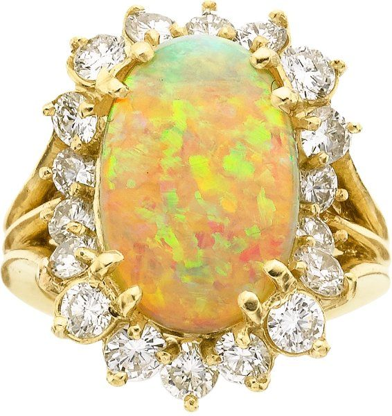 Opal, Diamond and Gold Ring.