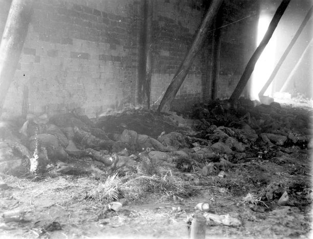 Gardelegen, Germany, 1945, Corpses of Jewish inmates in a burnt barn.