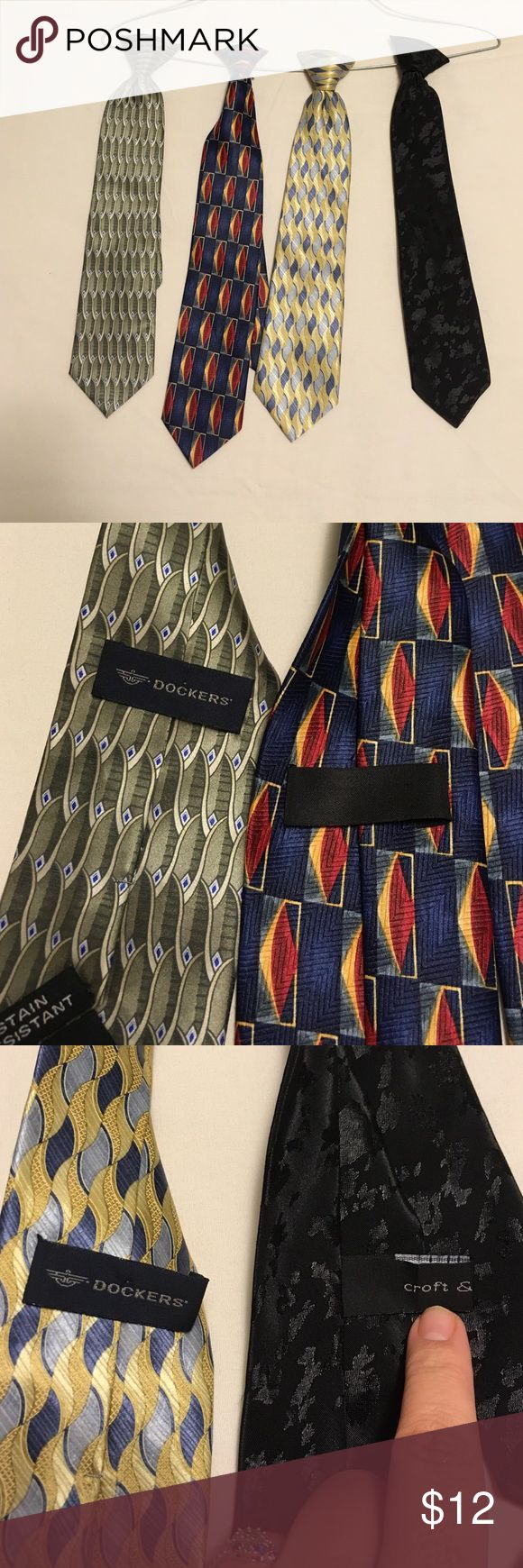 4 boy's clip on ties 4 boy's clip on ties. 3 are Dockers and 1 is croft and barrow Accessories Ties