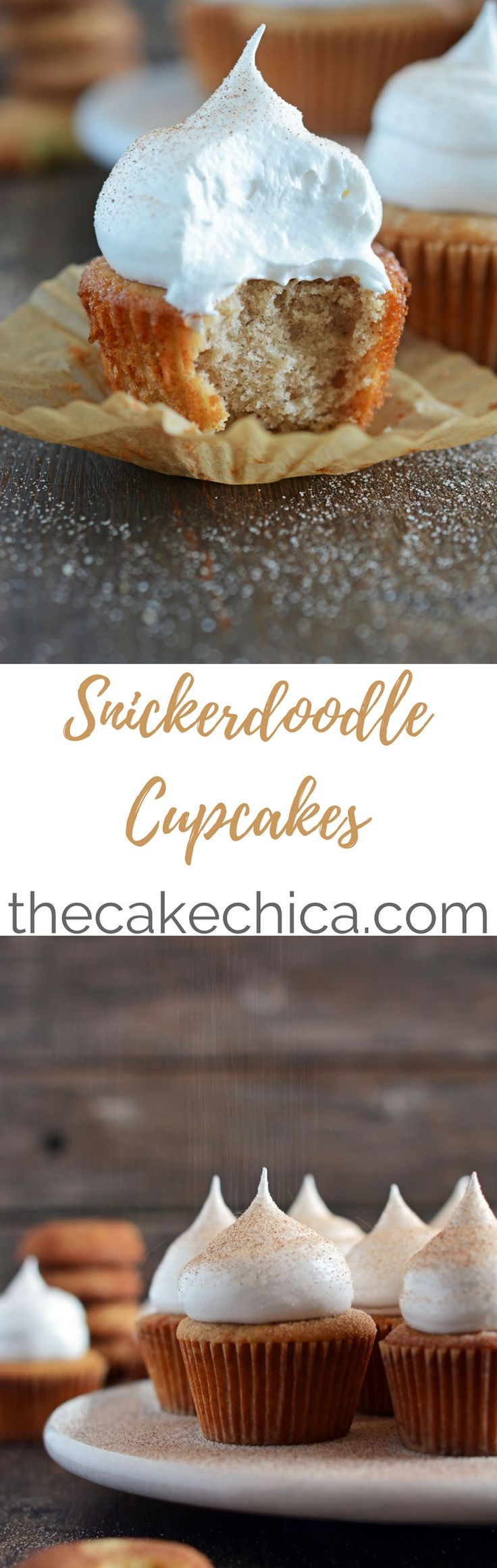 These Snickerdoodle Cupcakes tastes just like the classic cookie created in cupcake form. Plus, they are topped with a 7minute frosting that's to die for!