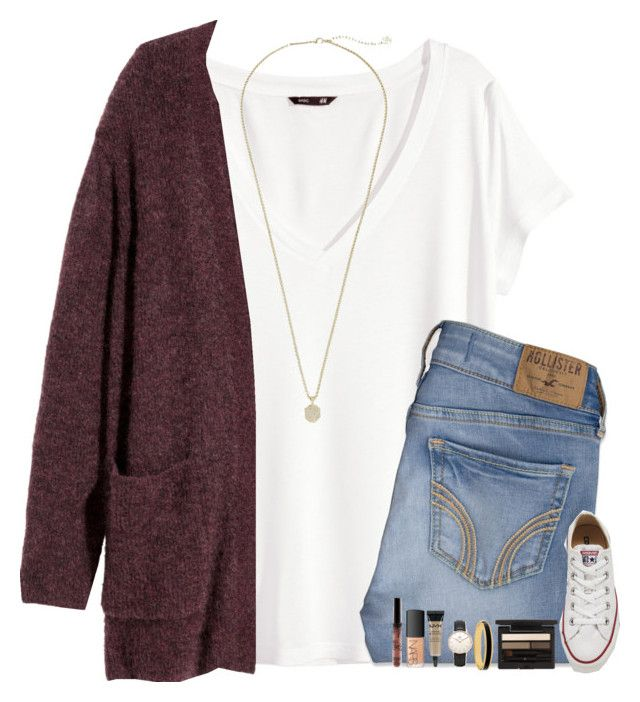 """""""When Will I Start Relating To Love Songs?"""" by evieleet ❤ liked on Polyvore featuring H&M, Hollister Co., Converse, Kendra Scott, Topshop, NARS Cosmetics, NYX, Halcyon Days and Clé de Peau Beauté"""