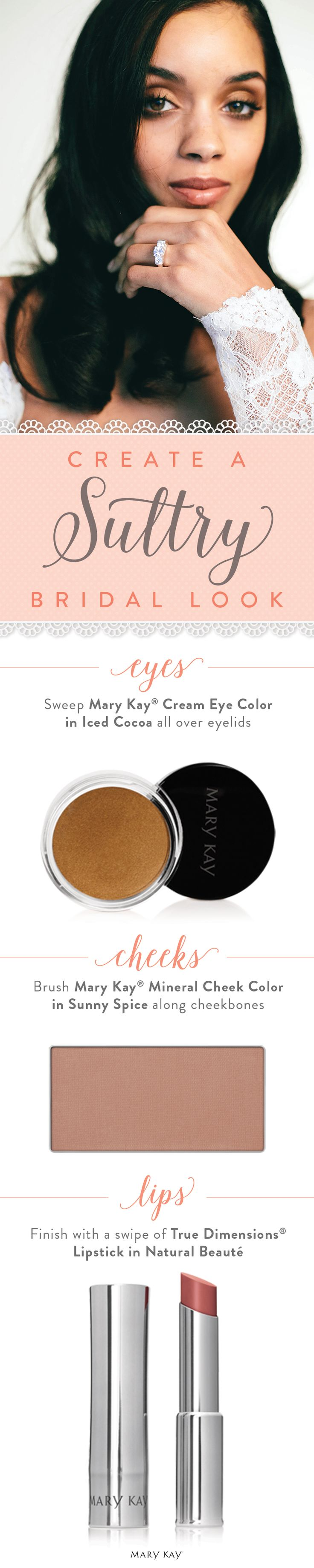 Makeup artist Moani Lee puts a spin on the classic smoky eye to create a sultry bridal look with a swipe of Mary Kay® Cream Eye Color in Iced Cocoa. Ask me about this bridal look! www.marykay.com/meghanworthington
