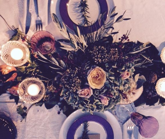 Decoración de mesa. Mesa decorada por Arqbellytura para la cena de presentación de una línea de accesorios para una nueva firma de joyería